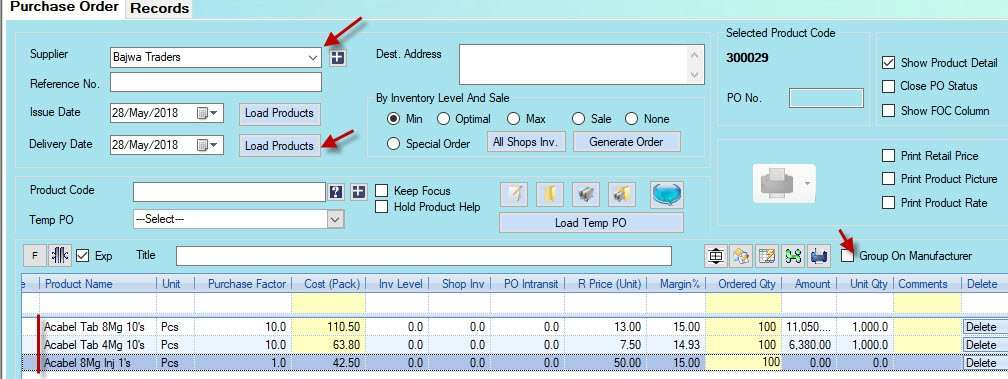 purchase order in Candela retail software
